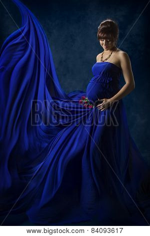 Pregnant Woman Beauty Portrait, Beautiful Maternity Concept, Mother In Fashion Blue Fluttering Dress