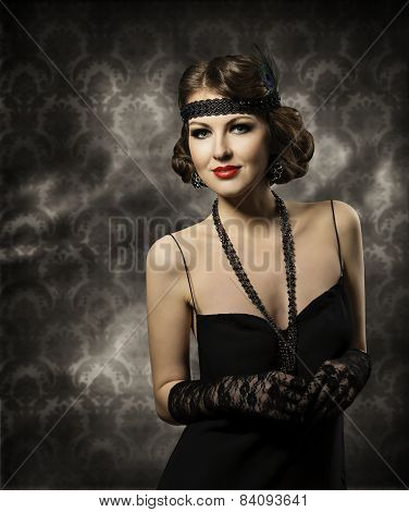 Retro Woman Hairstyle Portrait, Elegant Lady Make Up With Vintage Hair Style In Fashion Model Black