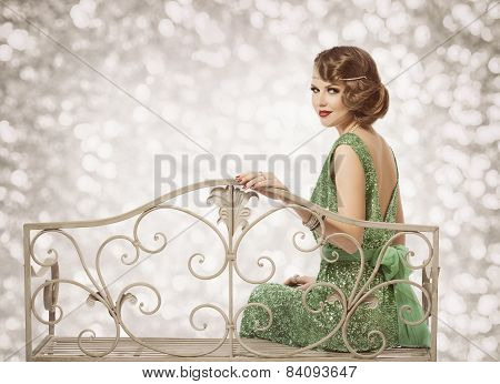 Retro Woman Portrait, Beautiful Lady With Wave Hairstyle Sitting In Elegant Dress, Fashion Model