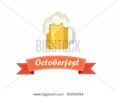 Pint Of Beer On Octoberfest With Ribbon