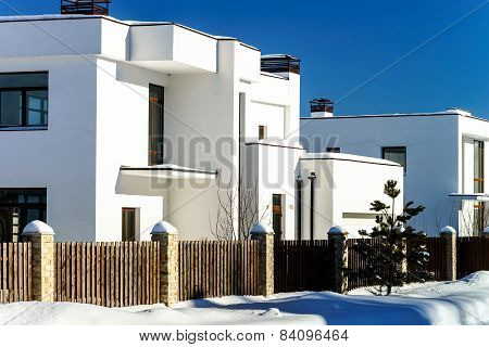 Modern Country House, Winter Sunny Day