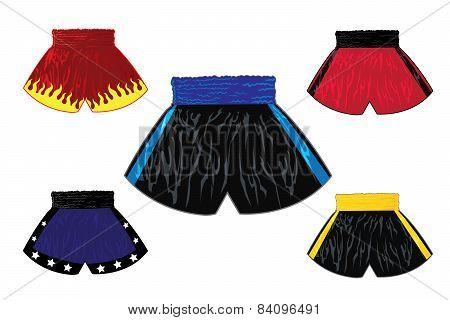 Illustration of boxing shorts set