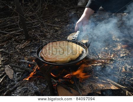 Pancake Cooking On Fire