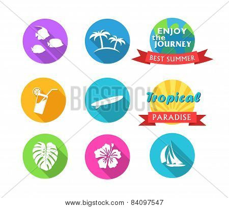 Set Of Tropical Icons In Flat Style