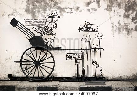 Malaysia, Penang, Georgetown - Circa Jul 2014: Artistic Sign, With Rendering Of A Rickshaw, Points O