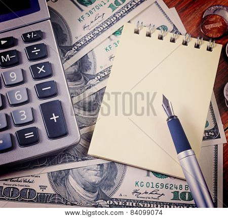 Concept - Business.calculator, Money, Notebook And Pen On The Table. Vintage Retro Hipster Style Ver