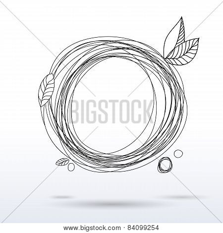 Doodle Style Pen Drawing Circle Frame