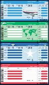 image of boarding pass  - Set of four airline boarding pass tickets - JPG