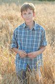 pic of farmer  - Teenage farmer standing among farm field of barley  - JPG