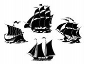 image of sail ship  - Sailboats and sailing ships black silhouettes - JPG