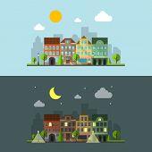 stock photo of urbanization  - Flat design urban landscape - JPG