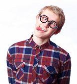 picture of nerd glasses  - Young teen boy in nerd glasses - JPG