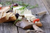 stock photo of greeks  - Greek snack with feta cheese - JPG