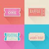 stock photo of raffle prize  - A set of 4 festival themed tickets - JPG