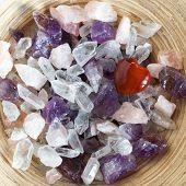 foto of precious stone  - Colorful semi precious quartz stones top view - JPG