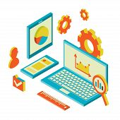 picture of isometric  - Isometric design modern vector illustration concept of website analytics and SEO data analysis using modern electronic and mobile devices - JPG