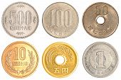 foto of japanese coin  - Japanese Yen coins collection set isolated on white background - JPG