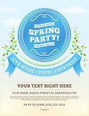 picture of blue  - Vector spring party invitation with blue ribbons and summer leaves on a bright blue sky - JPG