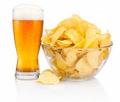 picture of guinness  - Glass of beer and Potato chips in glass bowl isolated on white background - JPG