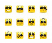 picture of angry smiley  - Set of twelve square smiley in yellow - JPG