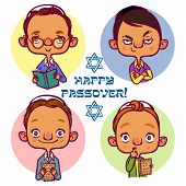 pic of seder  - Four jewish boys asking questions for Pesah - JPG