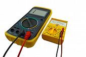 picture of  multimeter  - Digital and pointer multimeters on a white background - JPG