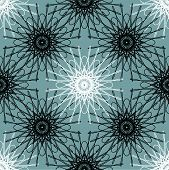 pic of symmetrical  - seamless symmetrical staggered black and white lacy ornament vector illustration - JPG