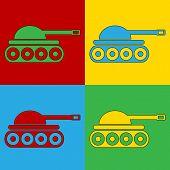 pic of panzer  - Pop art panzer symbol icons - JPG
