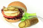 picture of veggie burger  - Vegan sea burger isolated on white background - JPG