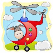 stock photo of helicopter  - Donkey is flying in a red helicopter - JPG