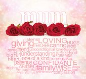 foto of mums  - Single row of five red rose heads with the word  - JPG