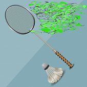 picture of shuttlecock  - badminton racket and shuttlecock on abstract background - JPG