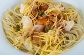 picture of carbonara  - Pasta carbonara with parmesan cheese and bacon - JPG