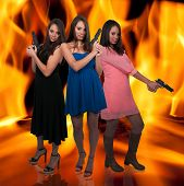 foto of triplets  - Beautiful women triplets with loaded handgun pistols - JPG