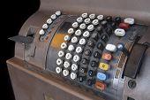 picture of cash register  - Old Cash Register Isolated On Black Background - JPG