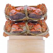 stock photo of hairy  - Hairy crabs on the Bamboo steamer Isolated on white background - JPG
