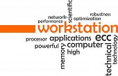 picture of workstation  - A word cloud of workstation related items - JPG