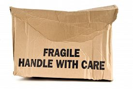 picture of fragile  - Fragile Handle With Care brown box crushed - JPG