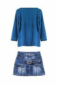 foto of jeans skirt  - Set of jean skirt and blue silk blouse isolated over white - JPG