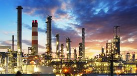 pic of water pollution  - Oil and gas refinery Power Industry at sunset - JPG