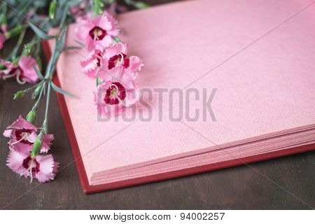 Pink Vintage Photo Album Page With Flowers