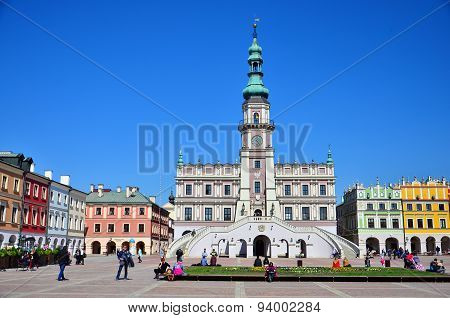 Historic buildings in  Market Square in Zamosc city center, Poland