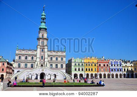 Historic building in  Market Square in Zamosc city center, Poland