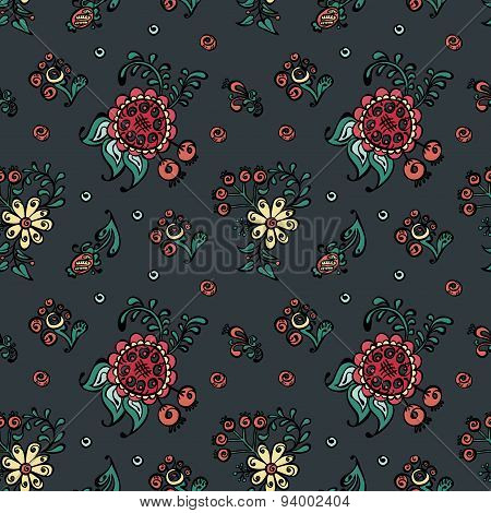 Fanciful flowers. Vector seamless illustration (texture, background) with pictures of flowers.
