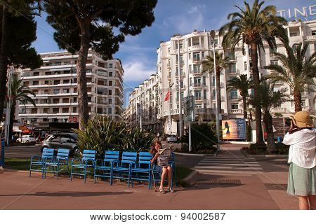 Cannes, France -  July 5, 2014. Boulevard De La Croisette In Cannes City. Cannes Located In The Fren