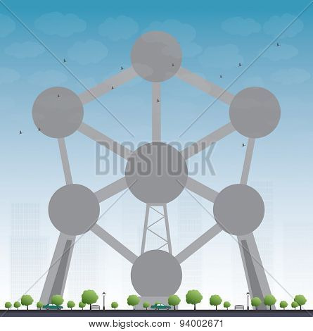 BRUSSELS, BELGIUM - JUNE 20, 2015: Atomium, a building in Brussels originally constructed for Expo 58, the 1958 Brussels World's Fair. Vector illustration