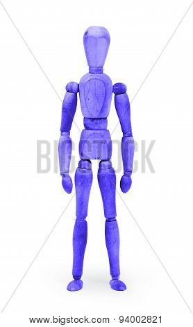 Wood Figure Mannequin With Bodypaint - Blue