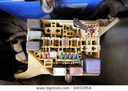 fuse box of car