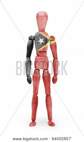 Wood Figure Mannequin With Flag Bodypaint - East Timor