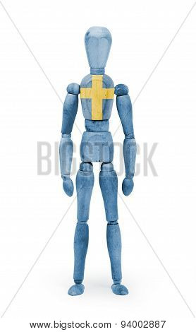 Wood Figure Mannequin With Flag Bodypaint - Sweden